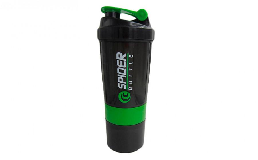 Шейкер 3-х камерный Spider Bottle fi-6389 (500+100мл), черно-зел