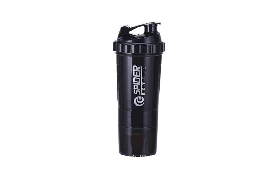 Шейкер 3-х камерный Spider Bottle fi-6389 (500+100мл), черный